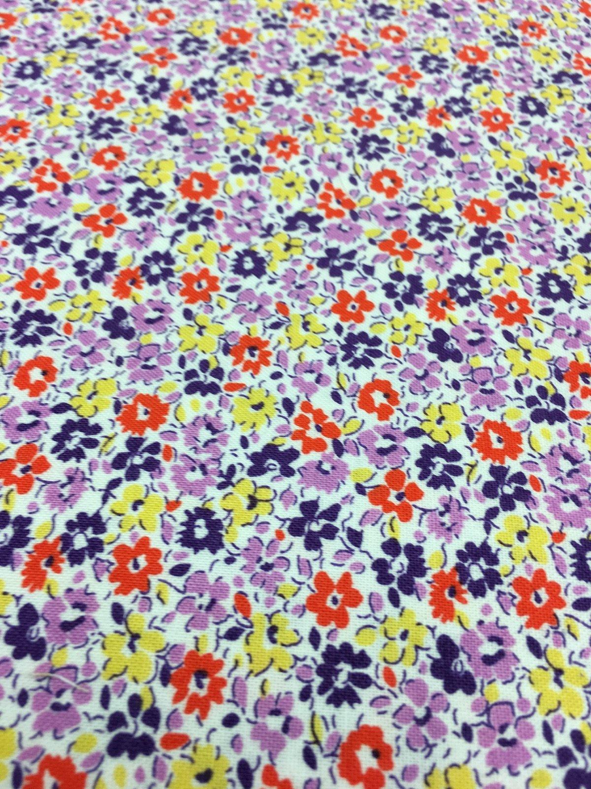 Floursack - Purple/Yellow/Orange Flowers on White 33081-8