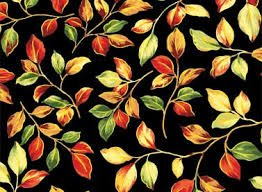 Bountiful Harvest - Black with Small Green, Orange, Yellow, Red Leaves/Gold Metallic 450625176BLA1XXXX