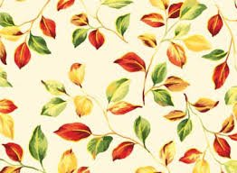 Bountiful Harvest - Cream with Small Green, Orange, Yellow, Red Leaves/Gold Metallic 450625176MUL1XXXX