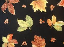 Bountiful Harvest - Black with Large Green, Orange, Yellow, Red Leaves/Gold Metallic 450625178BLA1XXXX
