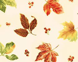 Bountiful Harvest - Cream with Large Green, Orange, Yellow, Red Leaves/Gold Metallic 450625178MUL1XXXX