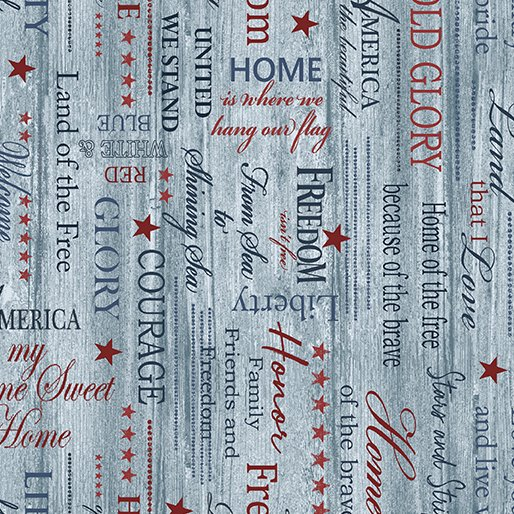 Home of the Free - Patriotic Words - Sea blue 06766-50
