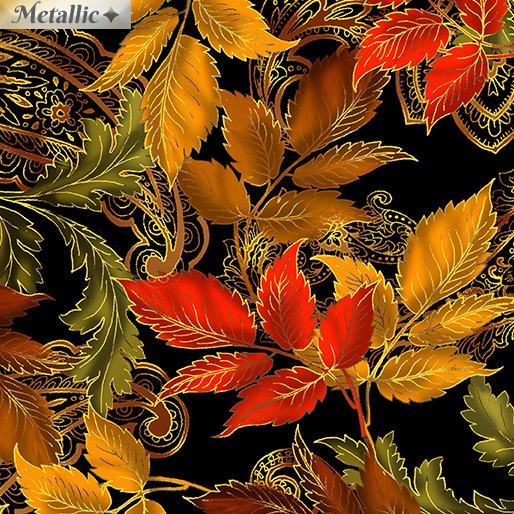 Radiant Leaves Metallic Black 9743-12