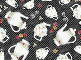Afternoon Delight ~ Black With White Coffee-Tea Pots & Cups 1649-23353-J