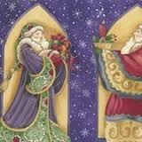 Christmas Spirit - Purple Santas (2/3 yd Panel) Y0698-28M Dk Pur Metallic