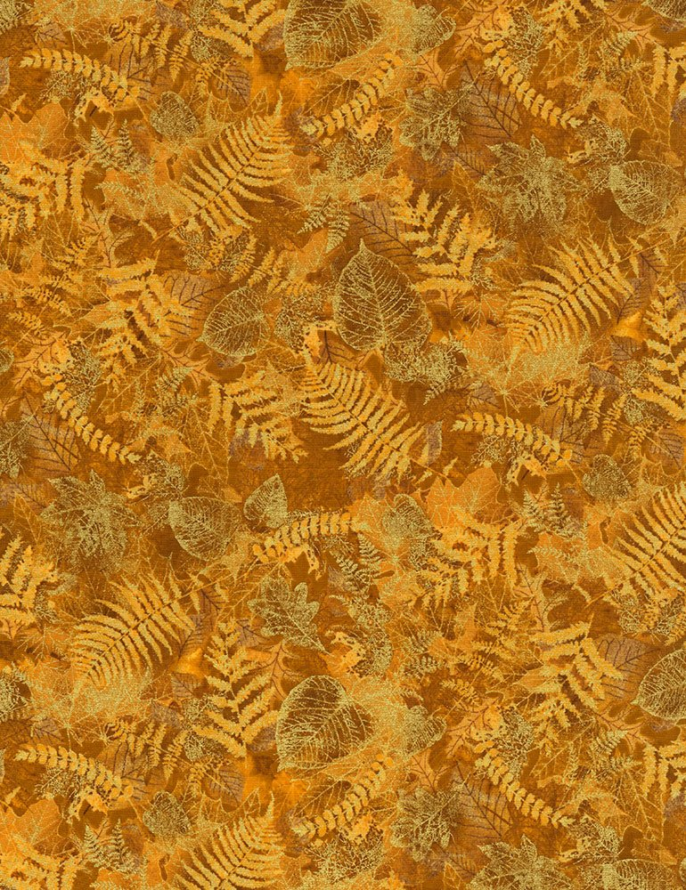 Harvest Gold with Gold Metallic Leaves CM6142-Gold