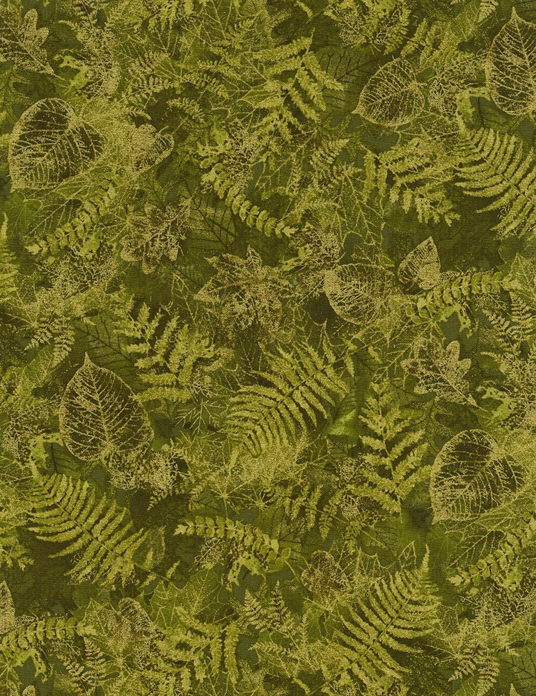 Harvest Green with Gold Metallic Leaves CM6142-Green