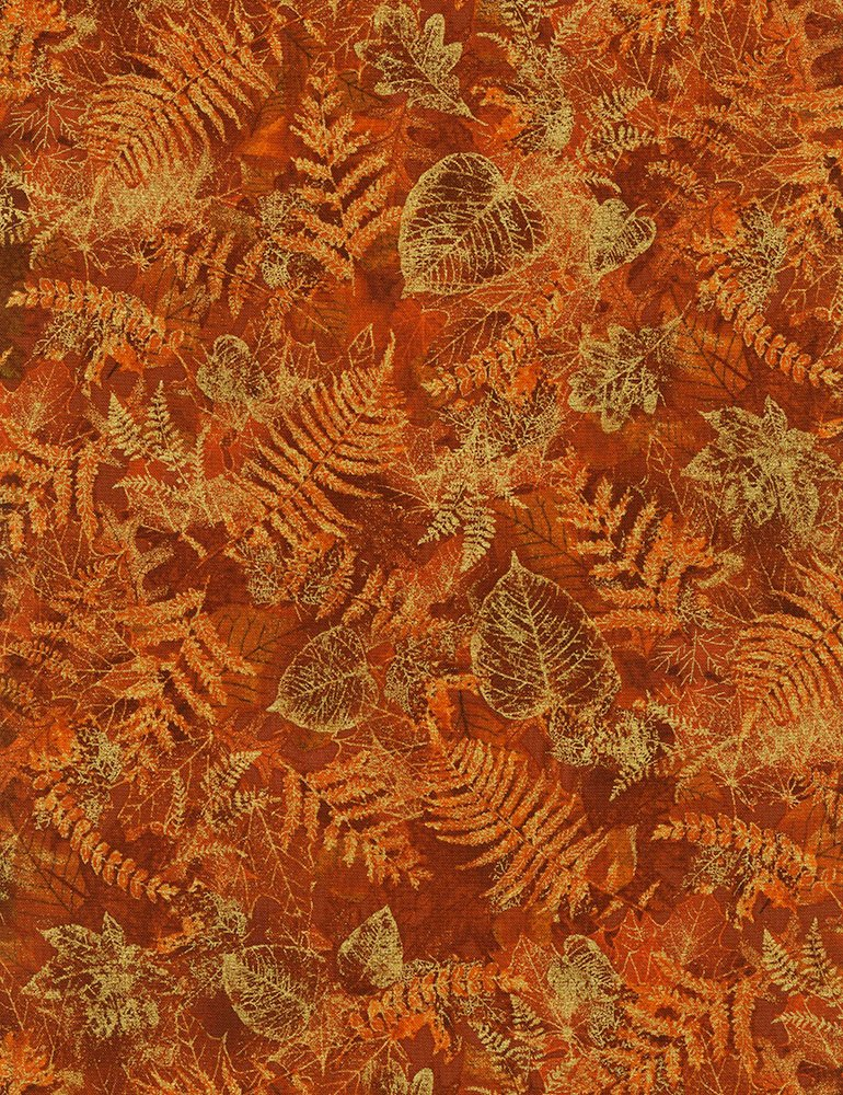 Harvest Rust with Gold Metallic Leaves CM6142-Rust