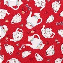 Afternoon Delight ~ Red With White Tea & Coffee Pots & Cups 1649-23353-R