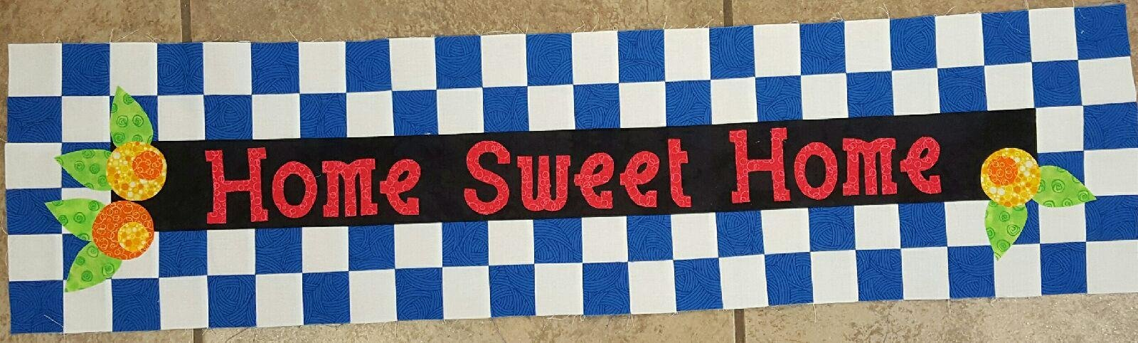 Row By Row Patterns - Home Sweet Home -Checkered Blue & Black