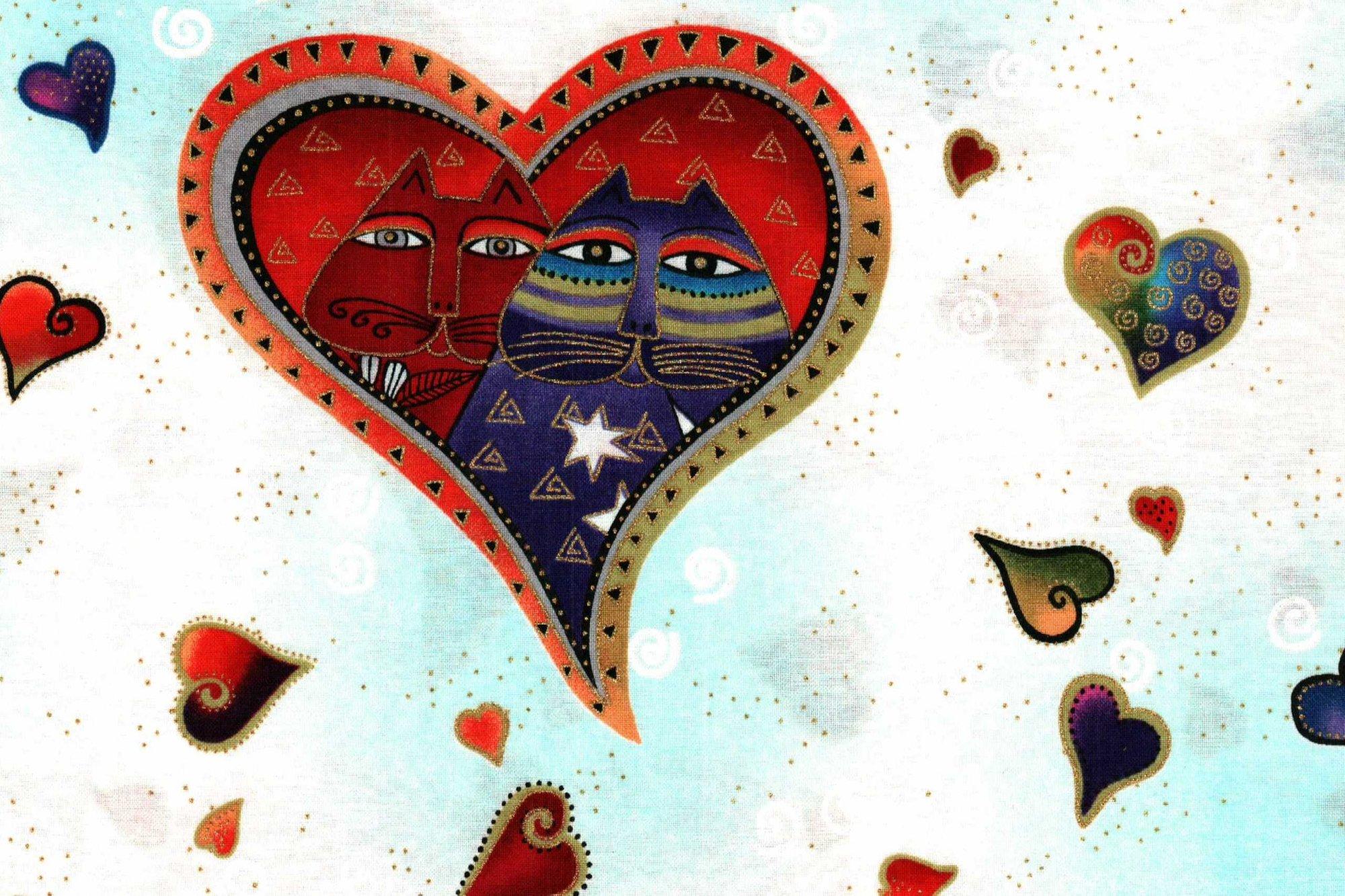 Laurel Burch Y1112-1M WHITE METALLIC HEARTS-CATS FABULOUS FELINES