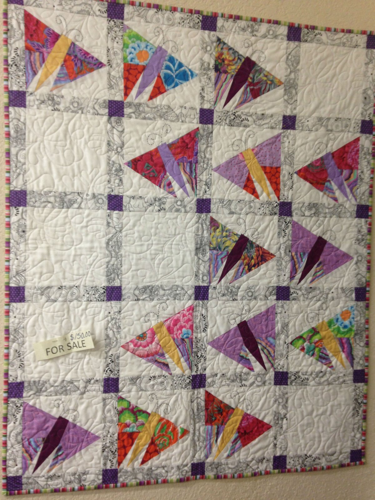 Butterfly quilt in Kafffe Fassett prints