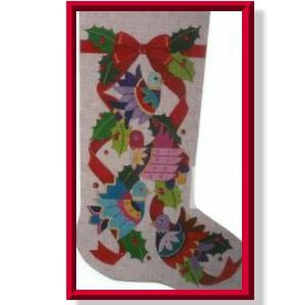 Christmas Birds Stocking-CD915