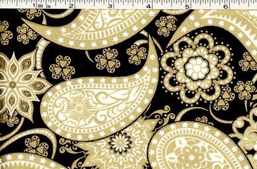 Jubilee Fabric - Paisley Black/Gold