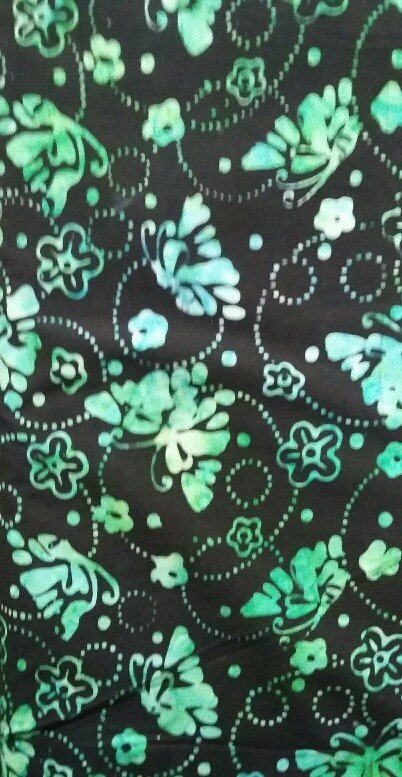 22205-974 WILMINGTON BATIKS BLACK WITH GREEN BUTTERFLIES AND SWIRLS