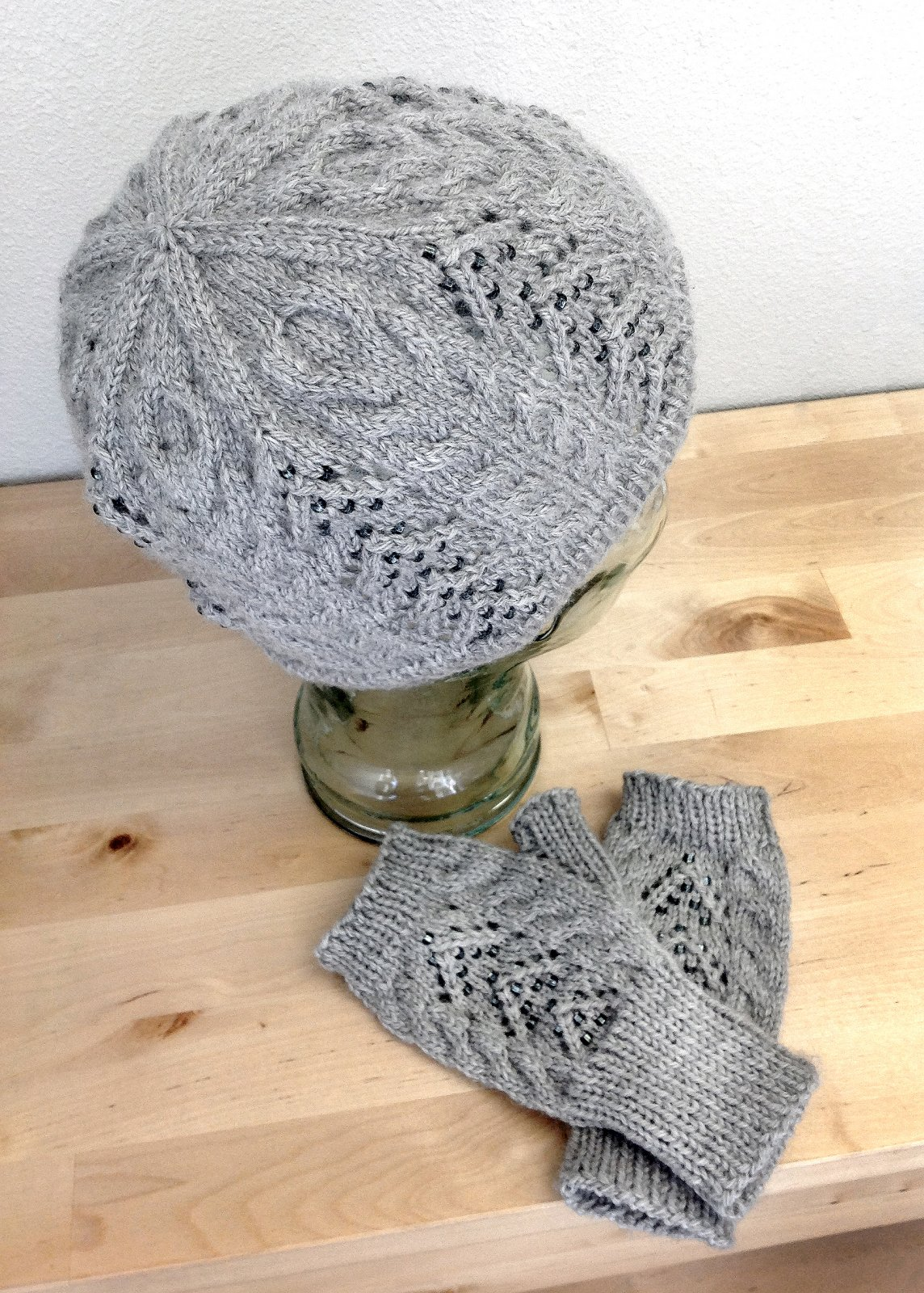 Slightly Cabled Hat and Gauntlets Digital Pattern