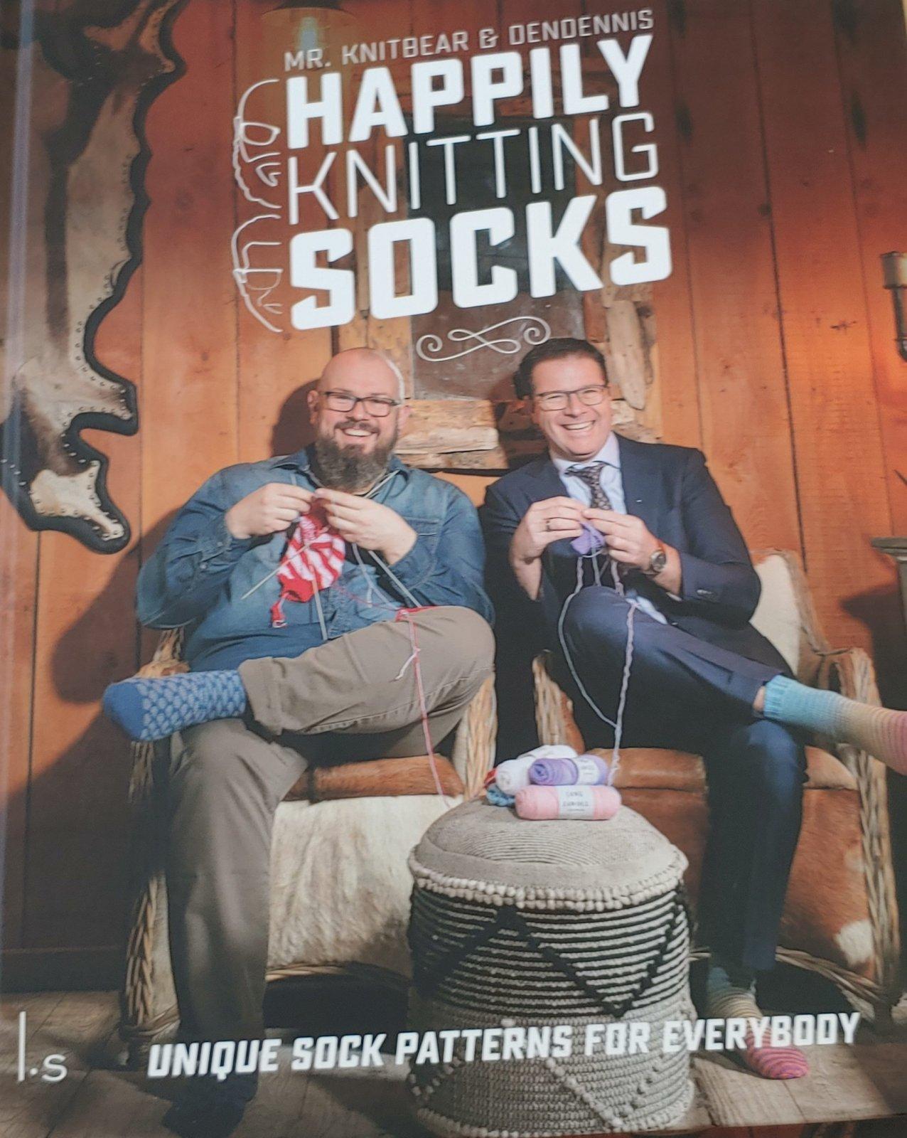 Mr. Knitbear & Dendennis Happily Knitting Socks