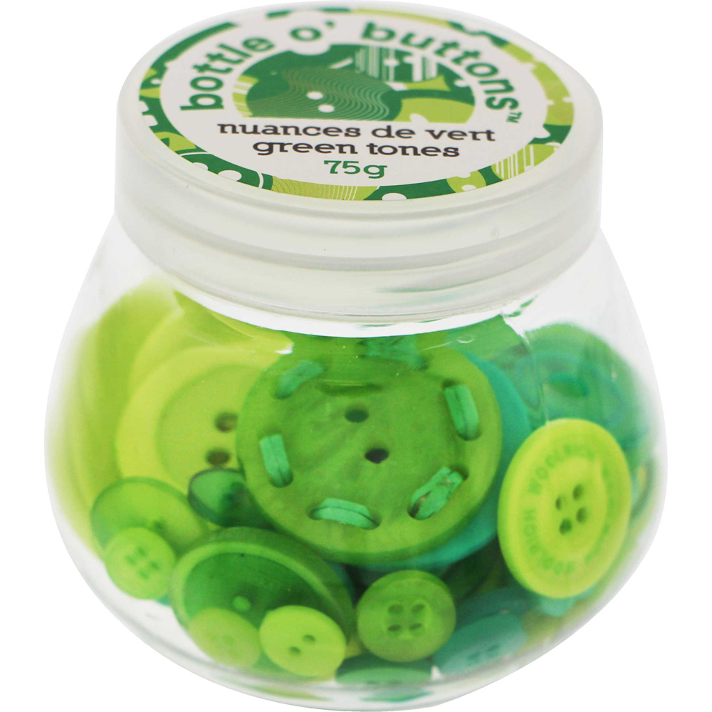 CRAFTING ESSENTIALS Bottle of Buttons - Green Tones - 75g (2.6oz)