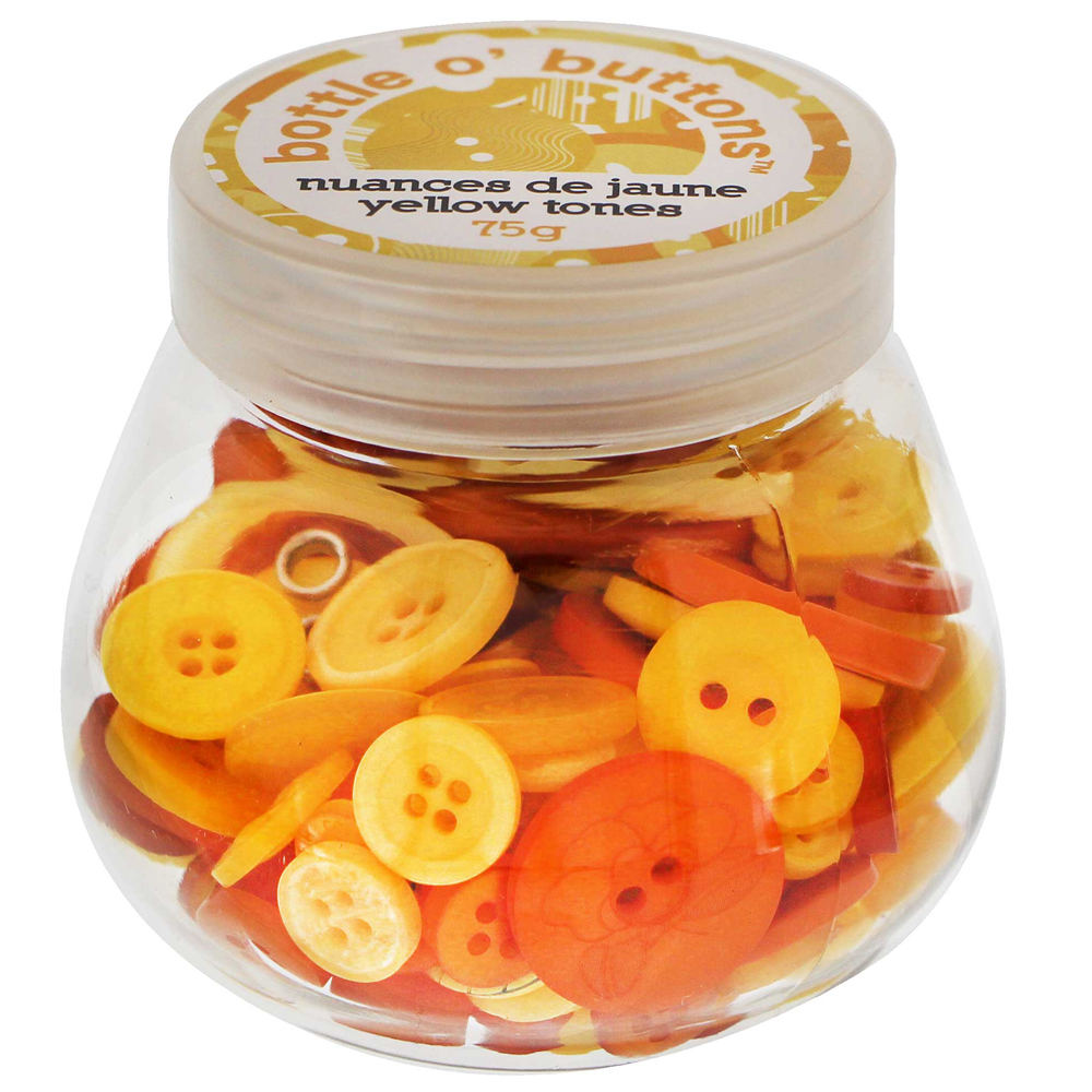 CRAFTING ESSENTIALS Bottle of Buttons - Yellow Tones - 75g (2.6oz)