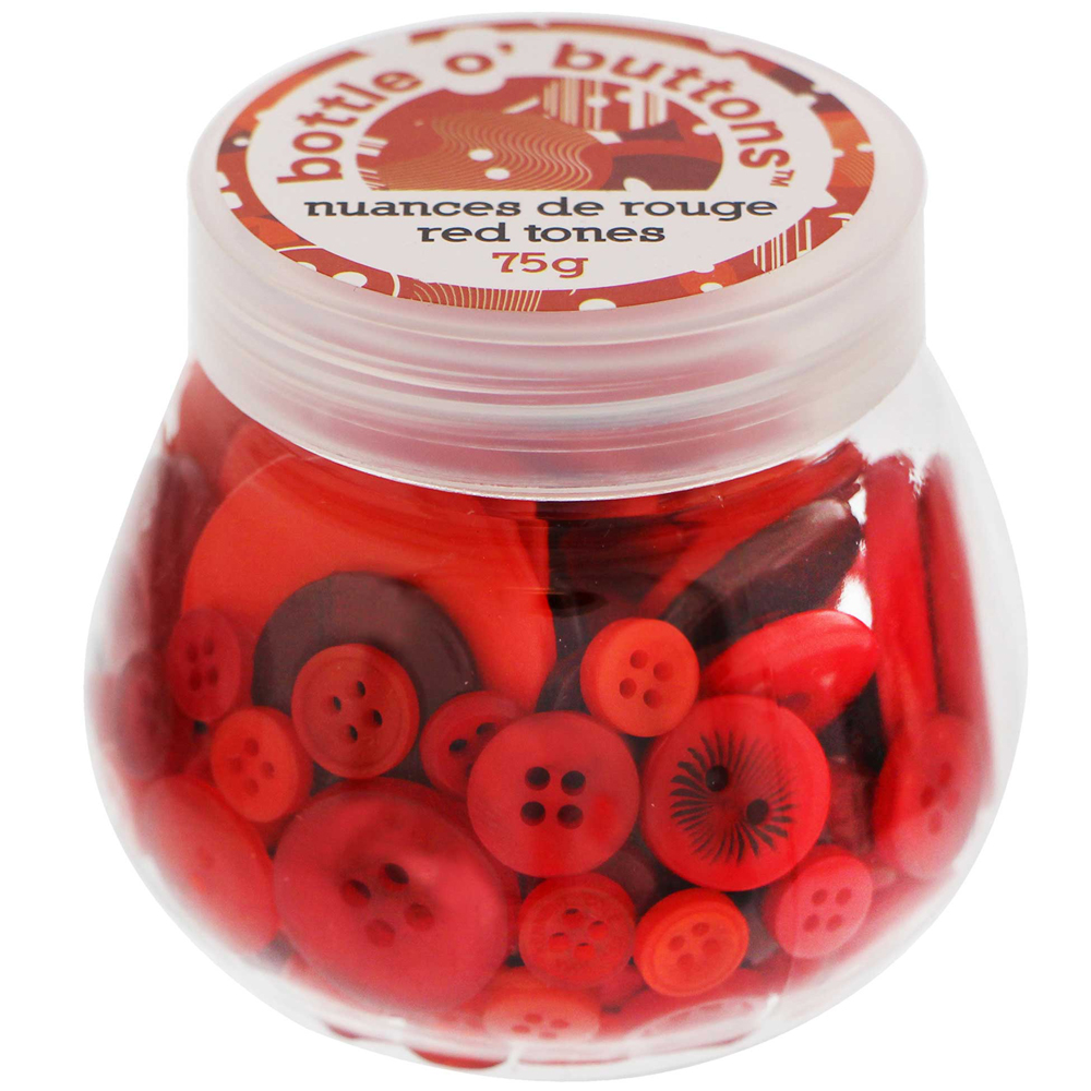 CRAFTING ESSENTIALS Bottle of Buttons - Red Tones - 75g (2.6oz)