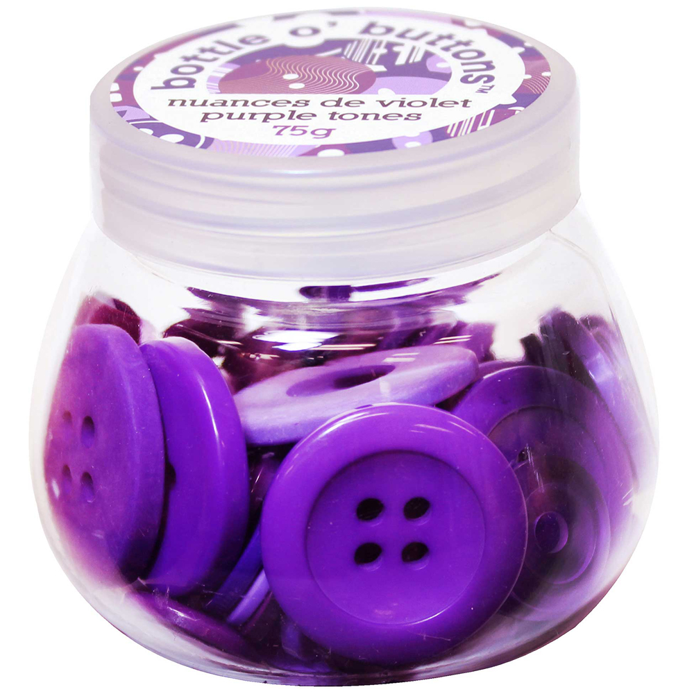 CRAFTING ESSENTIALS Bottle of Buttons - Purple Tones - 75g (2.6oz)