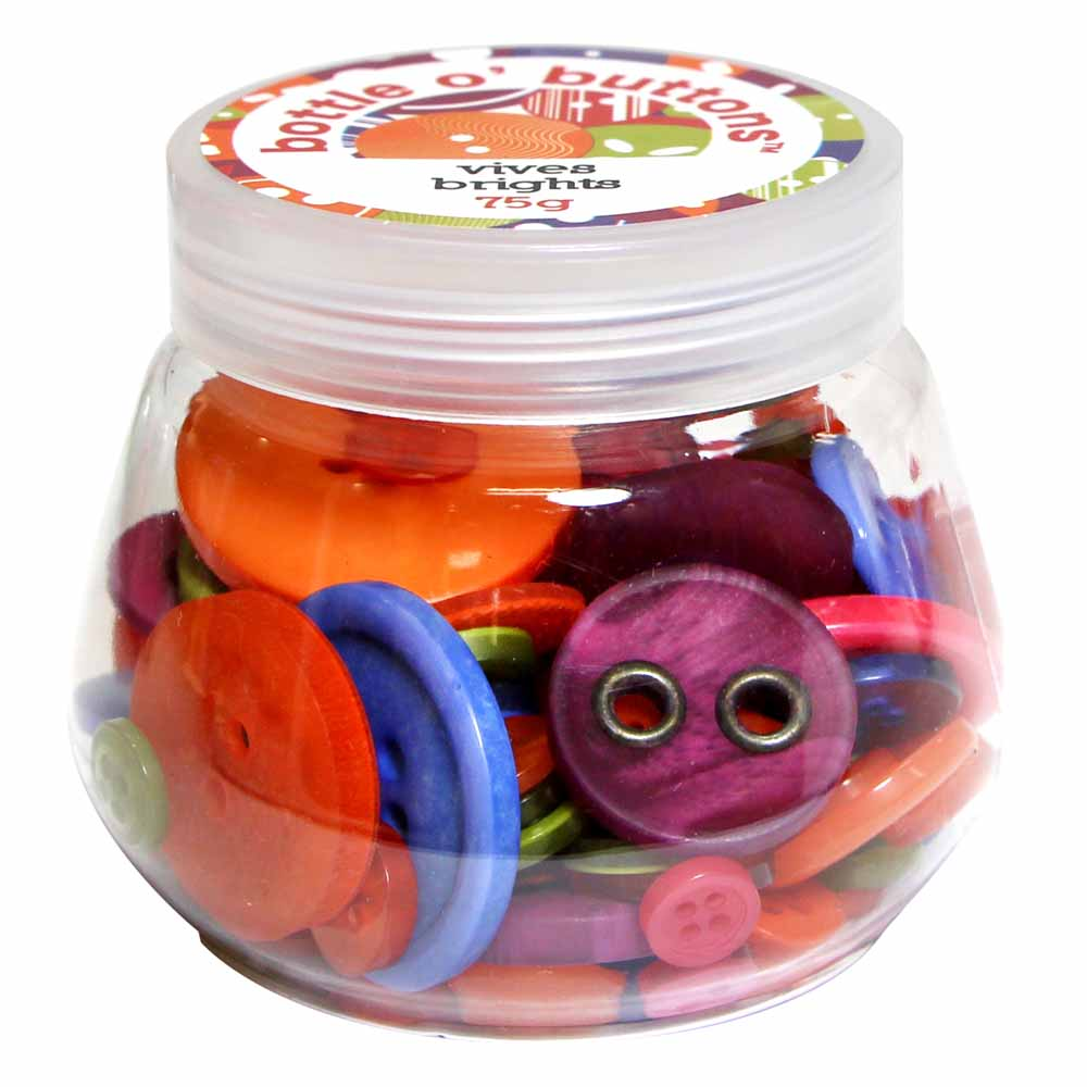 CRAFTING ESSENTIALS Bottle of Buttons - Brights - 75g (2.6oz)