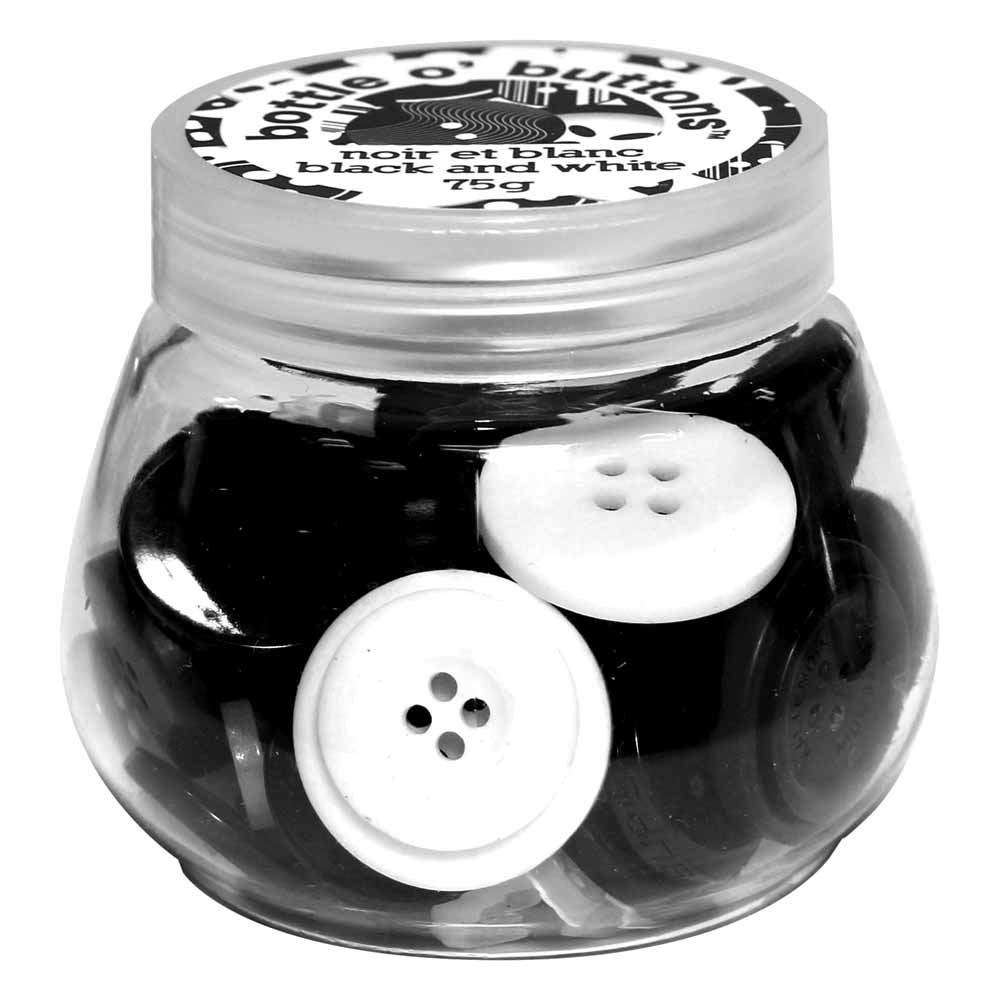 CRAFTING ESSENTIALS Bottle of Buttons - Black & White - 75g (2.6oz)