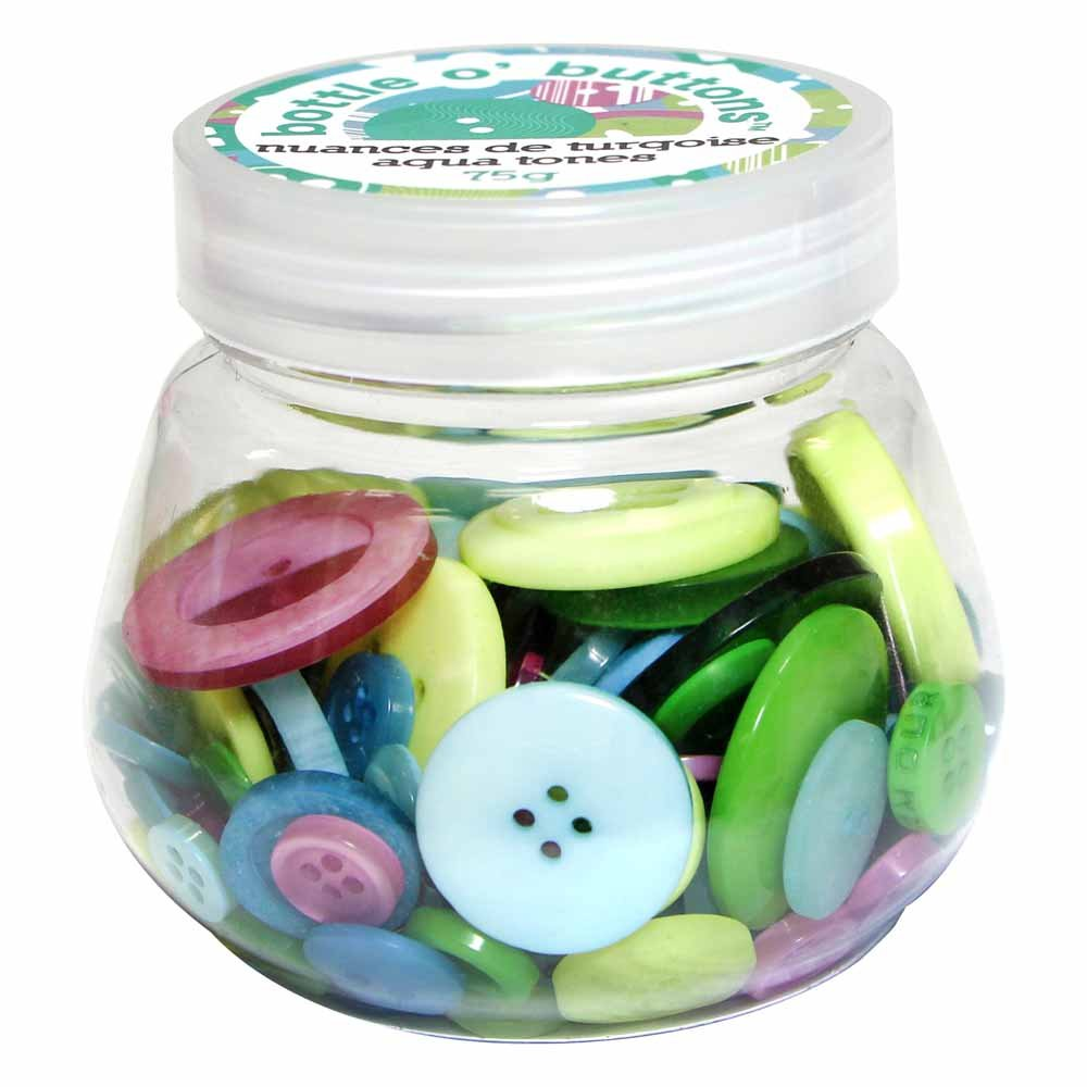 CRAFTING ESSENTIALS Bottle of Buttons - Aqua - 75g (2.6oz)