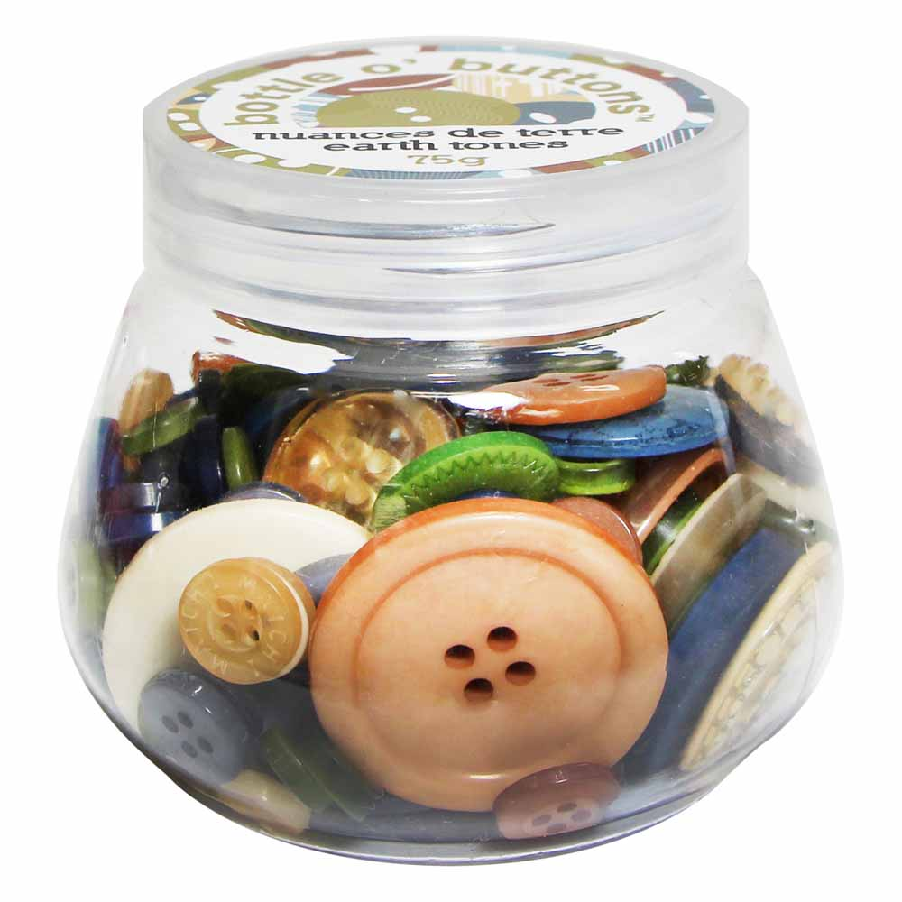 CRAFTING ESSENTIALS Bottle of Buttons - Earth Tones - 75g (2.6oz)