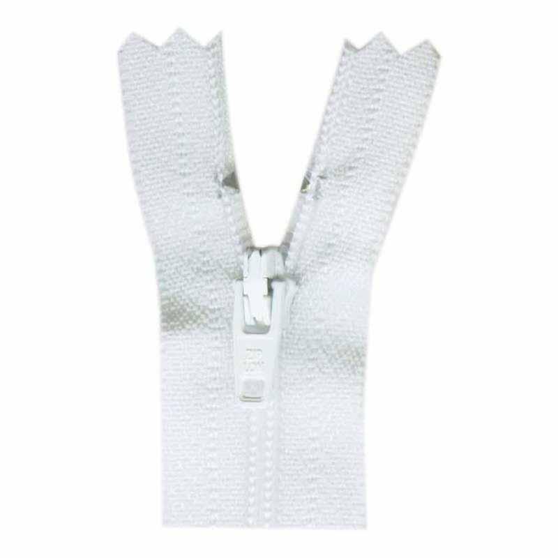 General Purpose Closed End Zipper 35cm (14) -- White - 1700