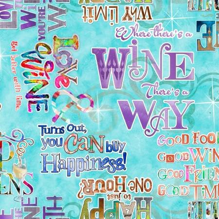 Connie Haley Sip & Snip Tuquoise Wine Words Digitally Printed - 14910-TURQ