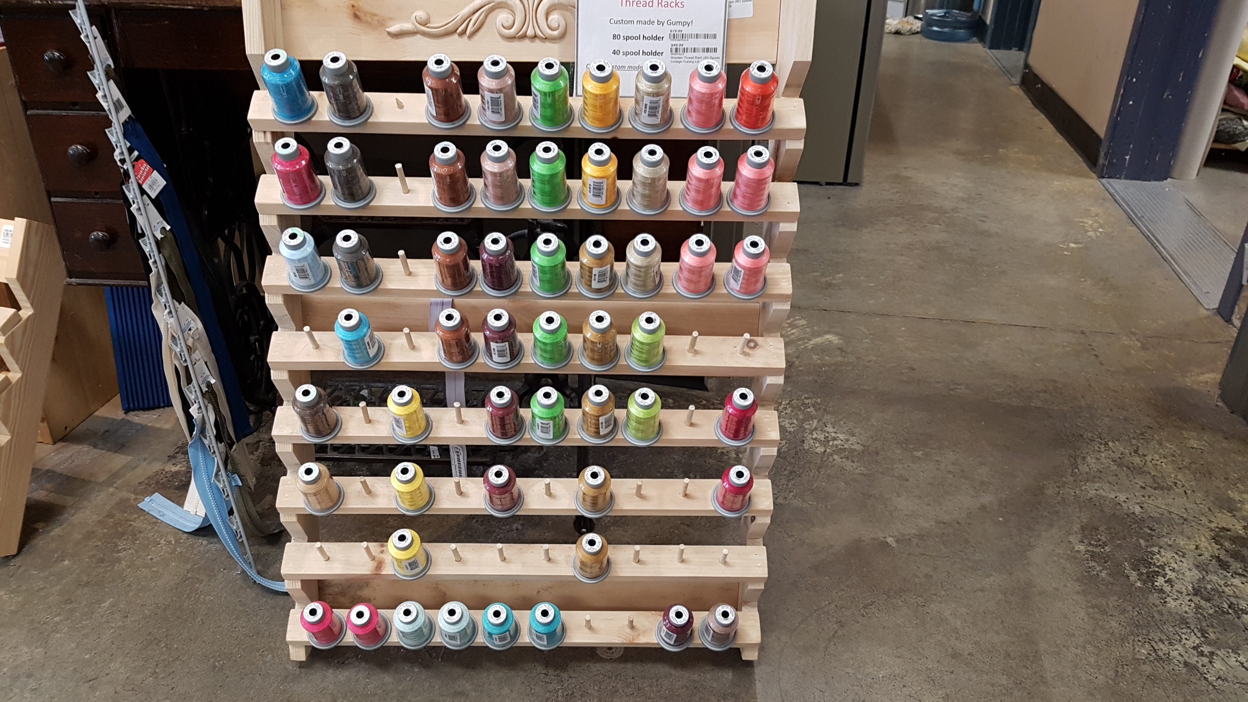 Wooden Thread Rack (80) Spools