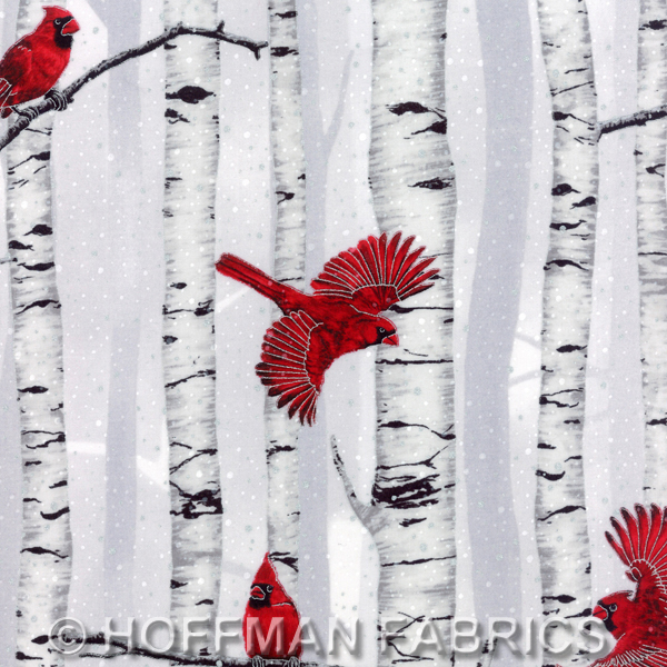 Hoffman Fabrics Warm Wishes - Fog/Silver Cardinal in Tree