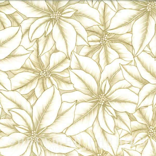 Hoffman Fabrics Warm Wishes Christmas Natural Gold Poinsettia Bloom Collage