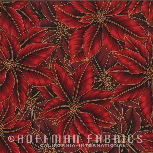 Hoffman Fabrics Warm Wishes Christmas Scarlet Gold