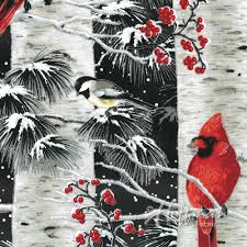 Hoffman Fabrics A Cardinal Christmas Onyx/Silver