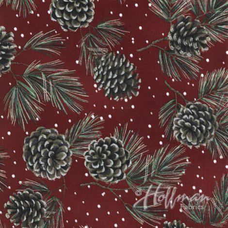 Hoffman Fabrics A Cardinal Christmas Garnet/Silver Pinecones