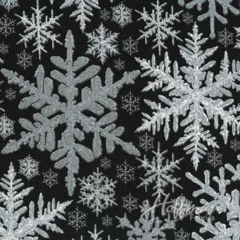 Hoffman Fabrics A Cardinal Christmas Black/Silver Snowflakes