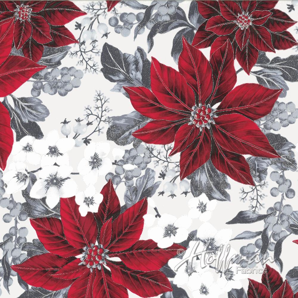 Hoffman Fabrics Winter Blossom Frost/Silver