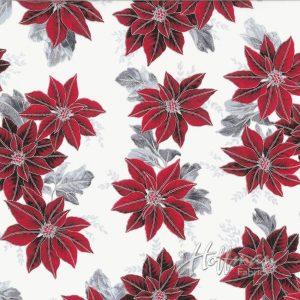 Hoffman Fabrics Winter Blossom Frost/Silver - Small Pointsetta