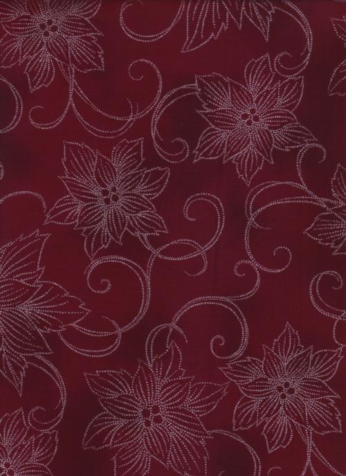 Hoffman Fabrics Winter Blossom Garnet/Silver - Flowers