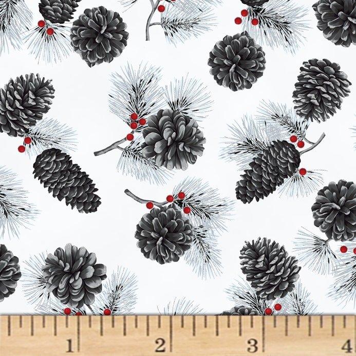 Hoffman Fabrics Cardinal Carols Pine Cones Frost/Silver