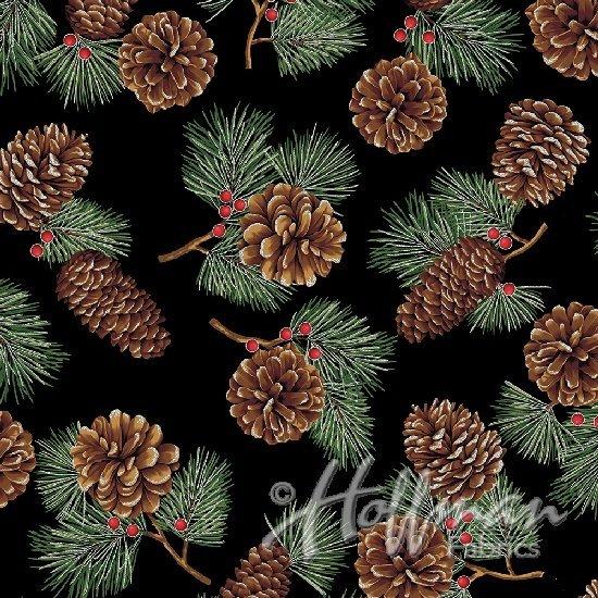 Hoffman Fabrics Cardinal Carols Pine Cones Onyx/Silver