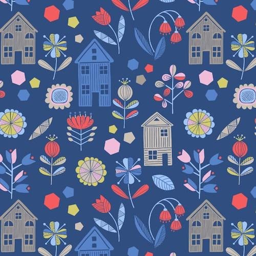 Lewis & Irene - Hann's House - Navy Flowers & Houses - 276.3