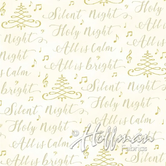 Hoffman Fabrics Cardinal Carols Silent Night Natural/Gold