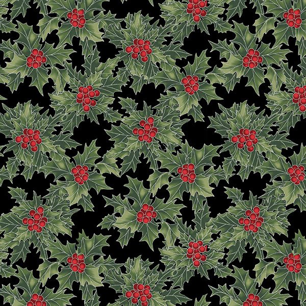 Hoffman Cardinal Carols Onyx Green  Silver Holly And Berries