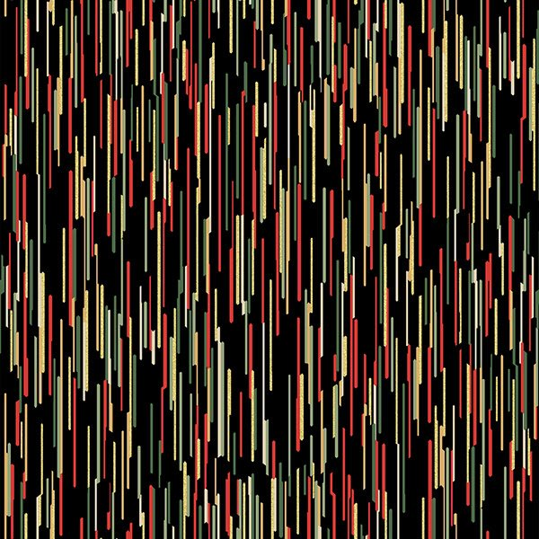 Hoffman Cardinal Carols Black Gold Light Beams Ikat