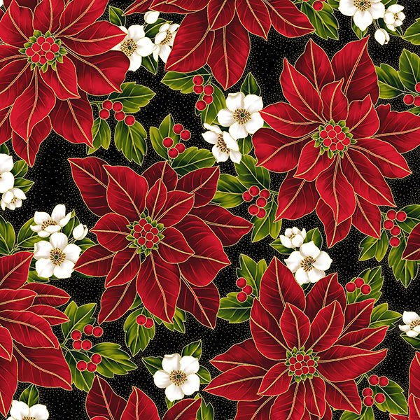 Hoffman Poinsettia Song Black Gold Poinsettia and Dogwood Blooms