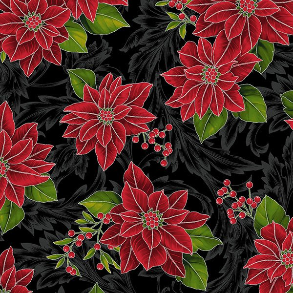 Hoffman Poinsettia Song Onyx Silver Poinsettia Shadow Acanthus