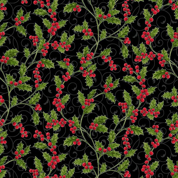 Hoffman Poinsettia Song Onyx Silver Holly Berry Vine over Scroll